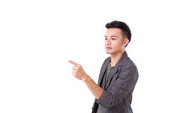 Man pointing to blank space Stock Photo