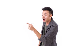 Man pointing to blank space Royalty Free Stock Image