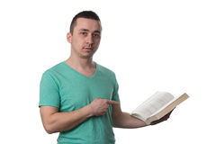 Man Pointing To Book Isolated On White Background Royalty Free Stock Image