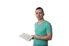 Man Pointing To Book Isolated On White Background Stock Image