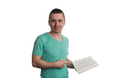 Man Pointing To Book Isolated On White Background Stock Photos