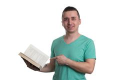 Man Pointing To Book Isolated On White Background Royalty Free Stock Photos