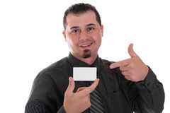 Man pointing to business card shirt and tie Stock Photography