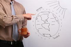 Man pointing to a diagram Stock Photography