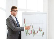 Man pointing to flip board with forex chart Royalty Free Stock Photos