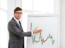 Man pointing to flip board with forex chart Royalty Free Stock Photo