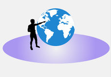 Man pointing to the globe Royalty Free Stock Photos