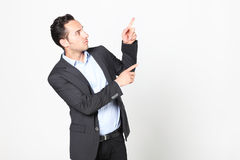 Man pointing to his left Stock Photography
