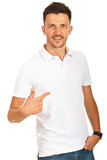 Man pointing to his shirt Royalty Free Stock Photography