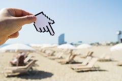 Man pointing to La Barceloneta beach in Barcelona royalty free stock image