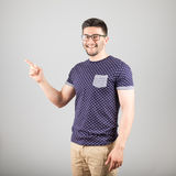 Man pointing towards something Stock Image