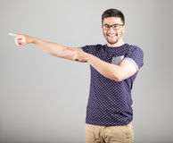 Man pointing towards something Stock Photography