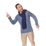 Man pointing at two different directions Stock Photography