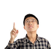 Man pointing up Stock Photos