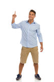 Man Pointing Up, Full Length Stock Photography