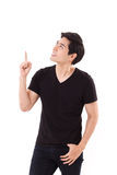 Man pointing up his finger, looking up Royalty Free Stock Photography