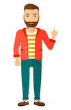 Man pointing up with his forefinger. A happy young hipster man with the beard pointing up with his forefinger vector flat design illustration isolated on white Stock Images
