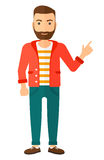 Man pointing up with his forefinger. A happy young hipster man with the beard pointing up with his forefinger vector flat design illustration isolated on white Royalty Free Stock Photo