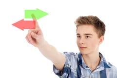 Man pointing at virtual display Royalty Free Stock Image