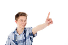 Man pointing at virtual display Royalty Free Stock Images