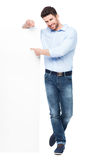 Man pointing at whiteboard Royalty Free Stock Image