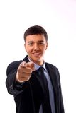 Man pointing at you. Portrait of man pointing at you royalty free stock image