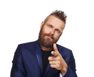 Man pointing at you, bearded guy isolated on white Royalty Free Stock Photography