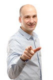 Man pointing at you over white back Royalty Free Stock Images
