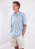 The man in points. Portrait of the successful man in a striped shirt royalty free stock images
