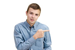 Man points hand Royalty Free Stock Photo