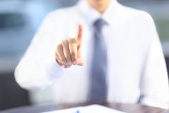 Man points his finger. Royalty Free Stock Photography
