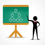 Man points to network strategy concept on green bo. Ard stock vector Royalty Free Stock Images
