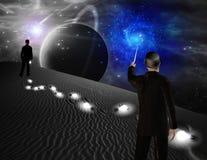 Man points toward galaxy Stock Image