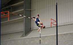 Man on the pole vault. Men's high jump, National Collegiate Athletic Association (NCAA) 2016 Indoor Track and Field event at Dix Stadium Field House, Kent State Royalty Free Stock Images