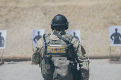 Man in Police Army Suit in Shooting Range Stock Photos