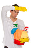Man with polish. Cleaning the apartment. Home Royalty Free Stock Photos