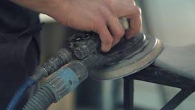 Car Mechanic Sanding Car stock video footage