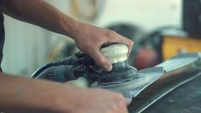Car Mechanic Sanding Car stock footage