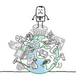 Man on a polluted world. Hand drawn cartoon characters Stock Images
