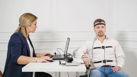 Man on Polygraph Test royalty free stock image