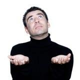 Man ponder praying looking up Stock Photos