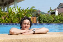 The man in pool Stock Photography