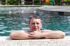 Man in the pool Royalty Free Stock Image