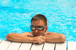 Man in the pool Royalty Free Stock Photo