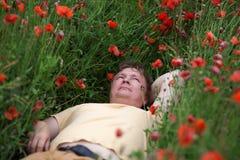 Man poppy field royalty free stock photos