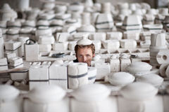 Man in porcelain factory Royalty Free Stock Photography
