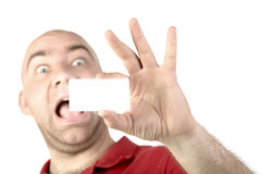 Man portait card. Man showing business card, isolated over white background Stock Photography