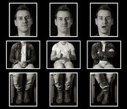 Man portait creative concept. Funny, creative man portrait, 3 looking, black and white concept Stock Image