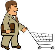 Man with portfolio and shopping cart Stock Photo