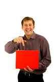 Man with portrait. Man with a red sign-post Stock Images